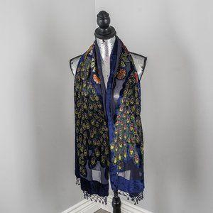 NWOT navy blue beaded velvet peacock shawl